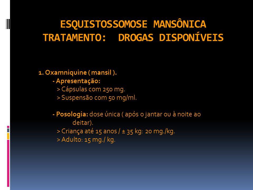 ESQUISTOSSOMOSE MANSÔNICA TRATAMENTO: DROGAS DISPONÍVEIS