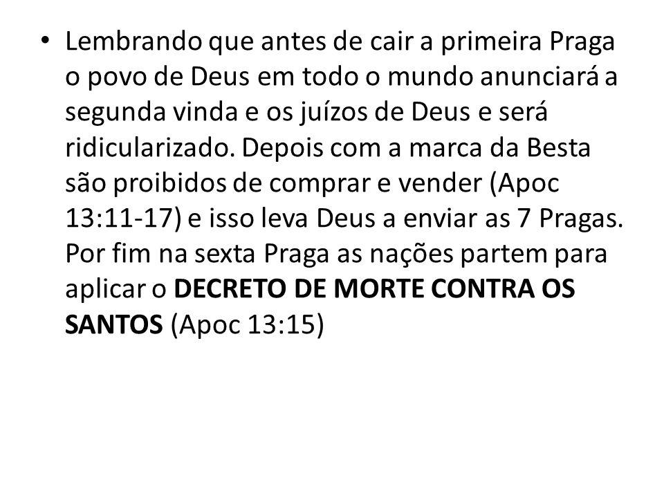 Lembrando que antes de cair a primeira Praga o povo de Deus em todo o mundo anunciará a segunda vinda e os juízos de Deus e será ridicularizado.