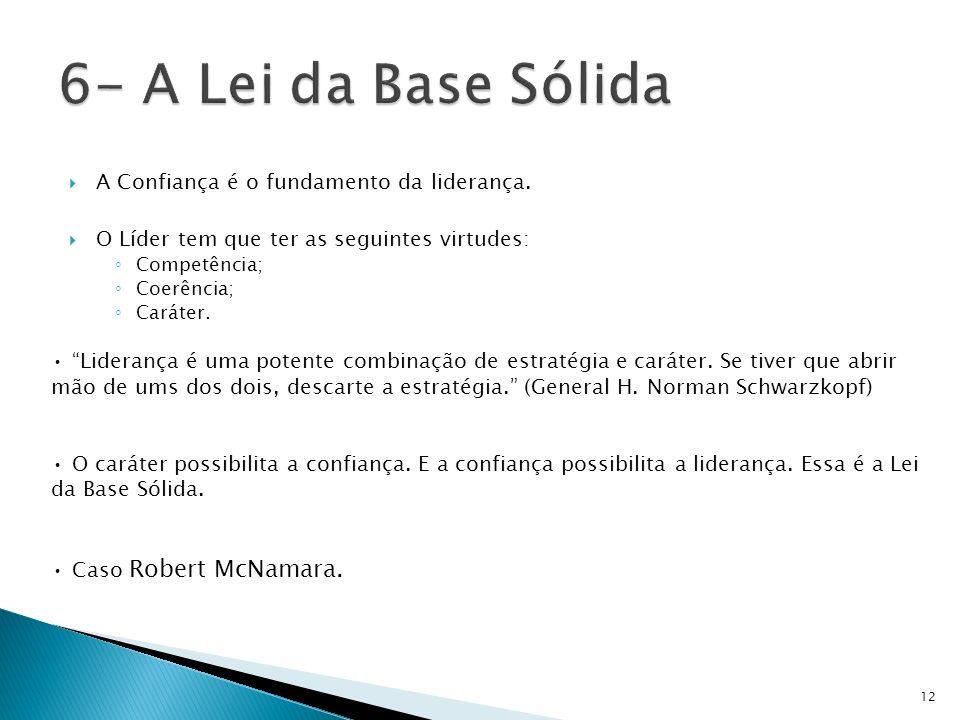 6- A Lei da Base Sólida A Confiança é o fundamento da liderança.