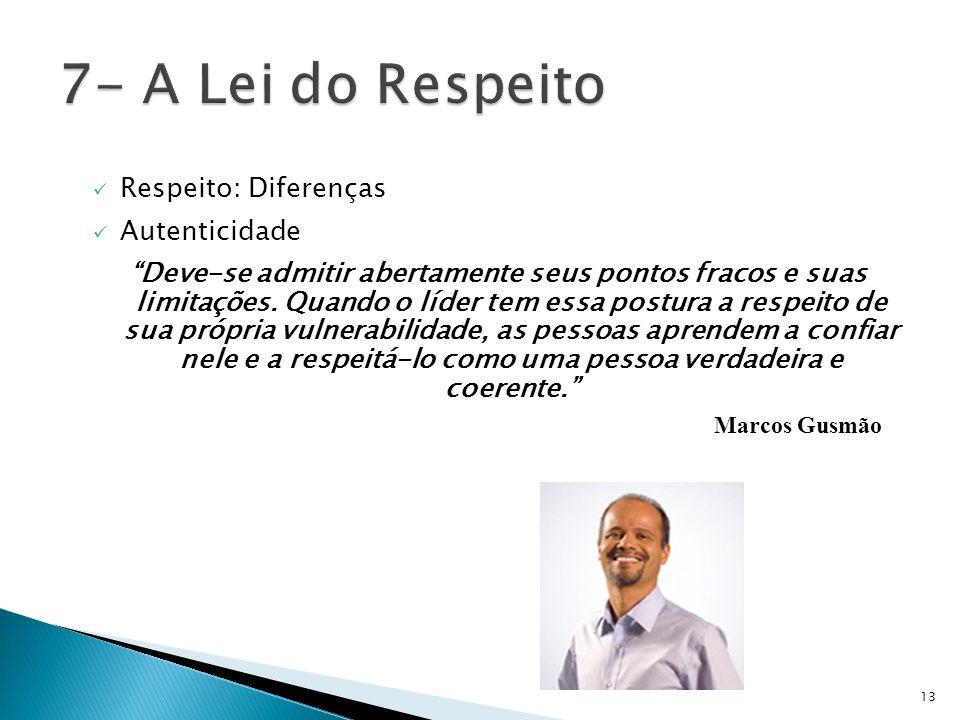 7- A Lei do Respeito Respeito: Diferenças Autenticidade