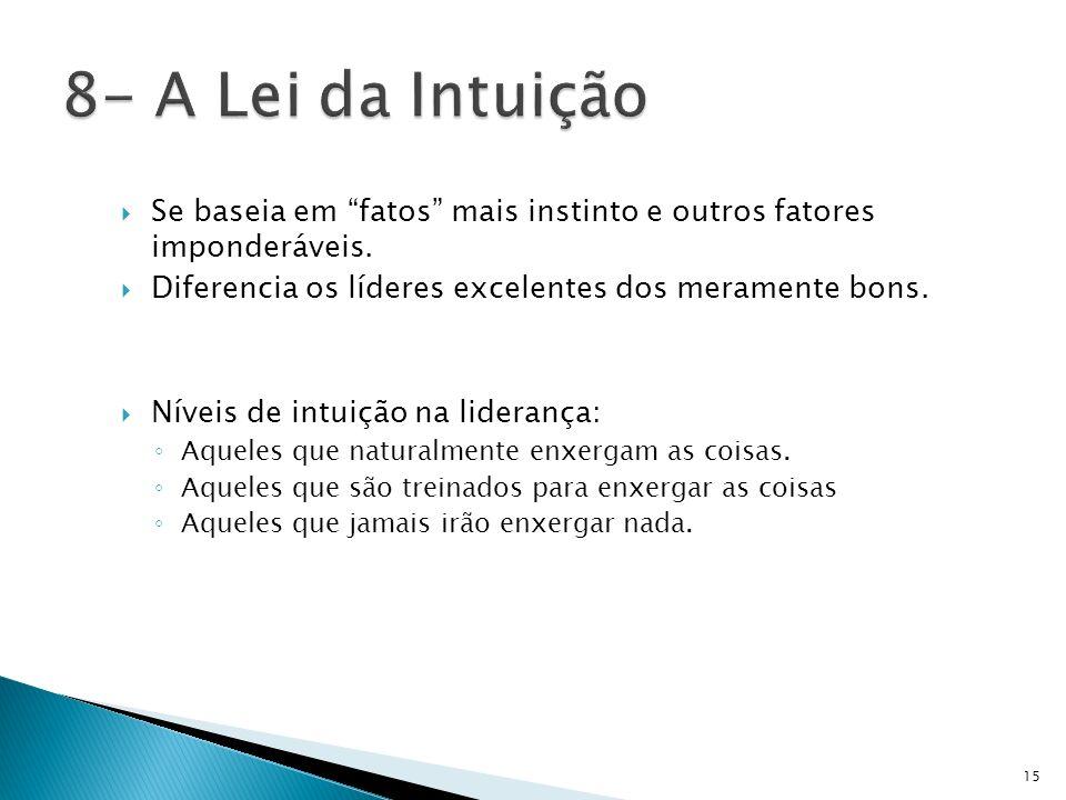 8- A Lei da IntuiçãoSe baseia em fatos mais instinto e outros fatores imponderáveis. Diferencia os líderes excelentes dos meramente bons.