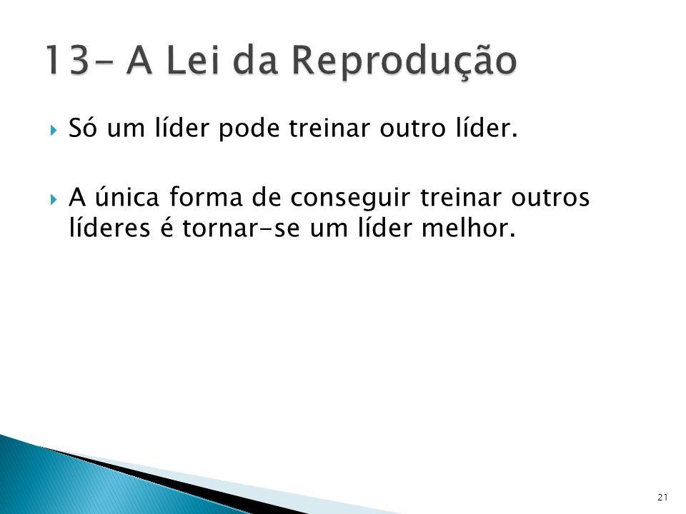 13- A Lei da Reprodução Só um líder pode treinar outro líder.
