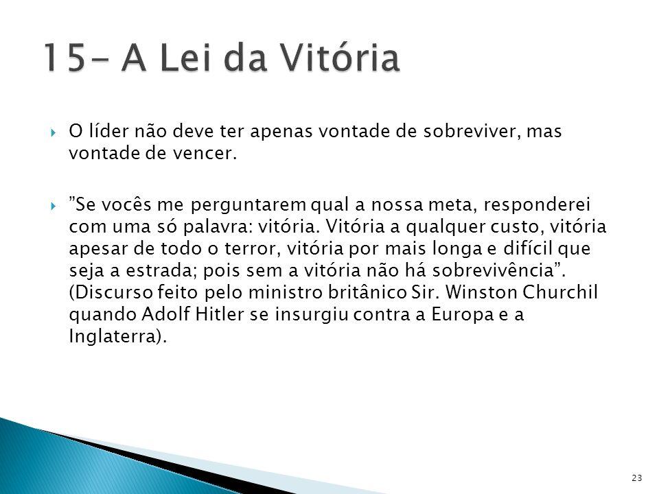 15- A Lei da VitóriaO líder não deve ter apenas vontade de sobreviver, mas vontade de vencer.
