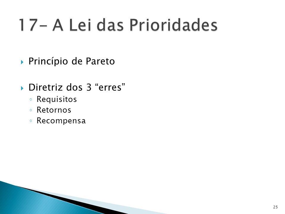 17- A Lei das Prioridades Princípio de Pareto Diretriz dos 3 erres