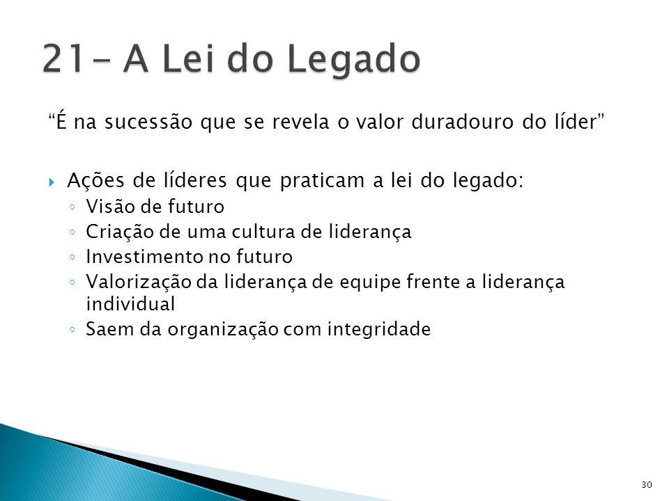 21- A Lei do Legado É na sucessão que se revela o valor duradouro do líder Ações de líderes que praticam a lei do legado: