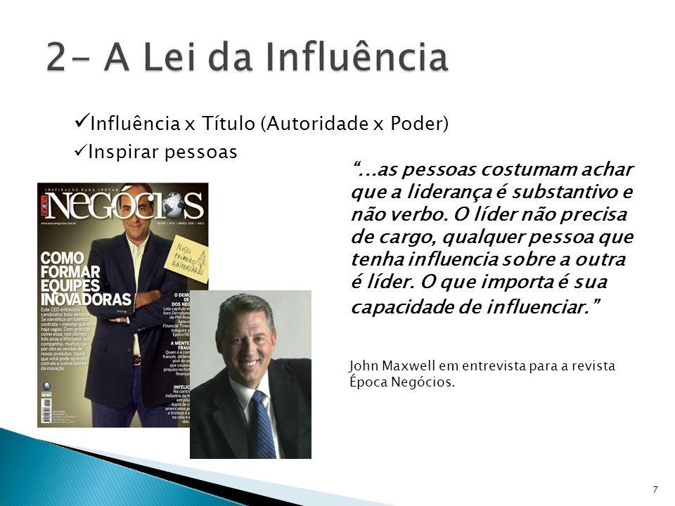 2- A Lei da Influência Influência x Título (Autoridade x Poder)