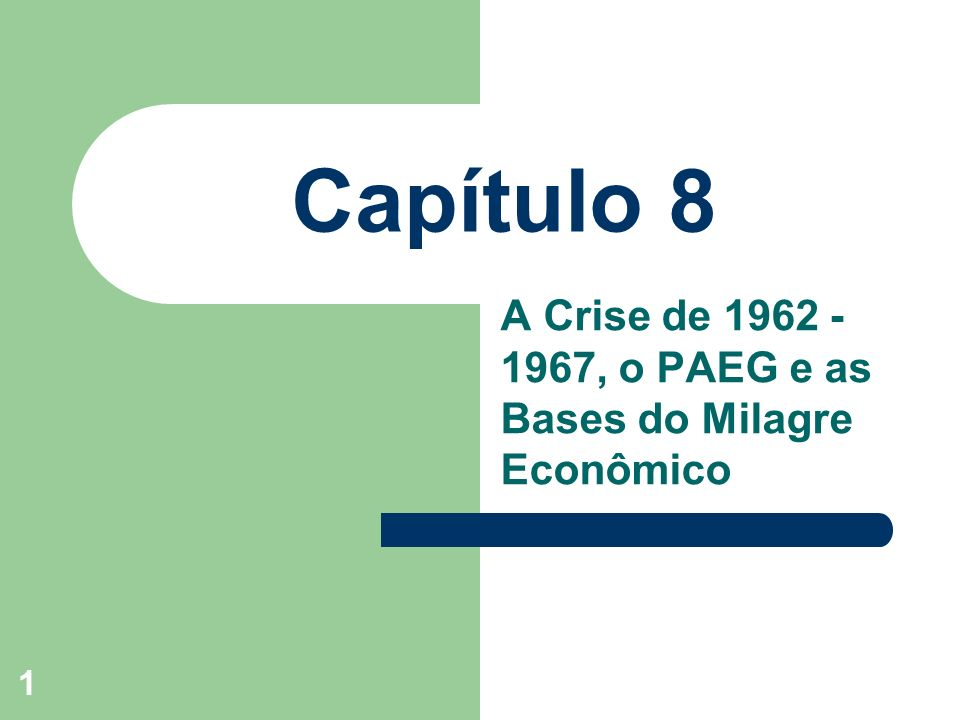 A Crise de 1962 -1967, o PAEG e as Bases do Milagre Econômico