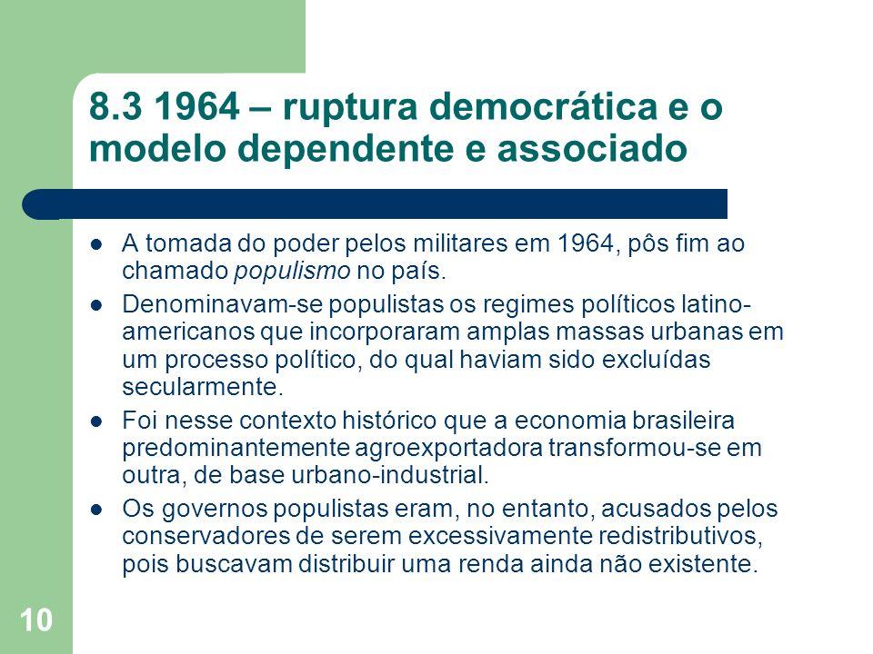 8.3 1964 – ruptura democrática e o modelo dependente e associado