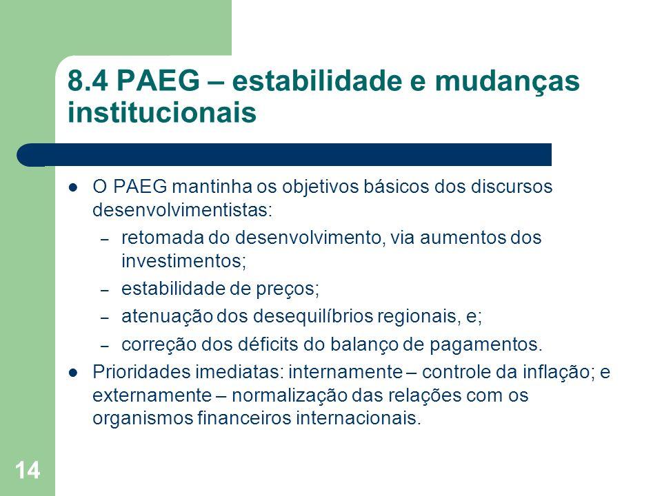 8.4 PAEG – estabilidade e mudanças institucionais
