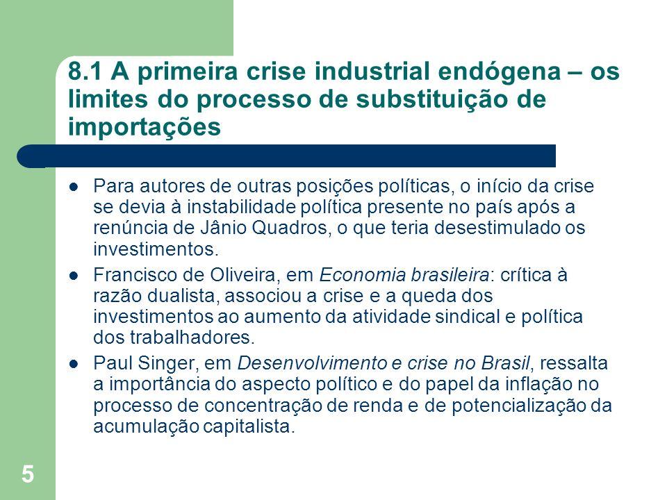 8.1 A primeira crise industrial endógena – os limites do processo de substituição de importações