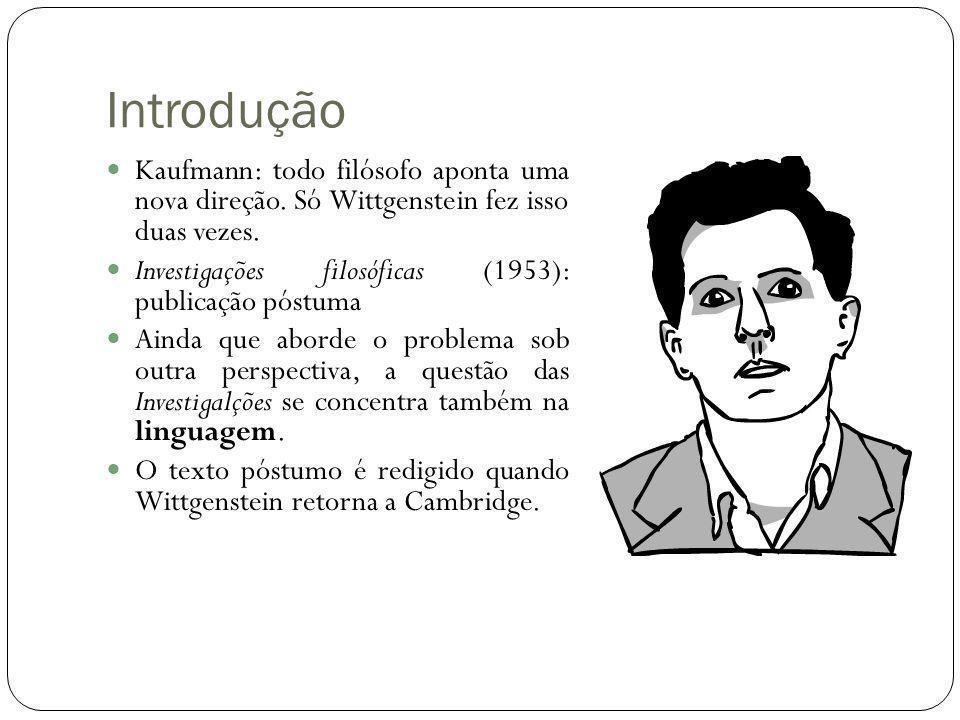 Introdução Kaufmann: todo filósofo aponta uma nova direção. Só Wittgenstein fez isso duas vezes.