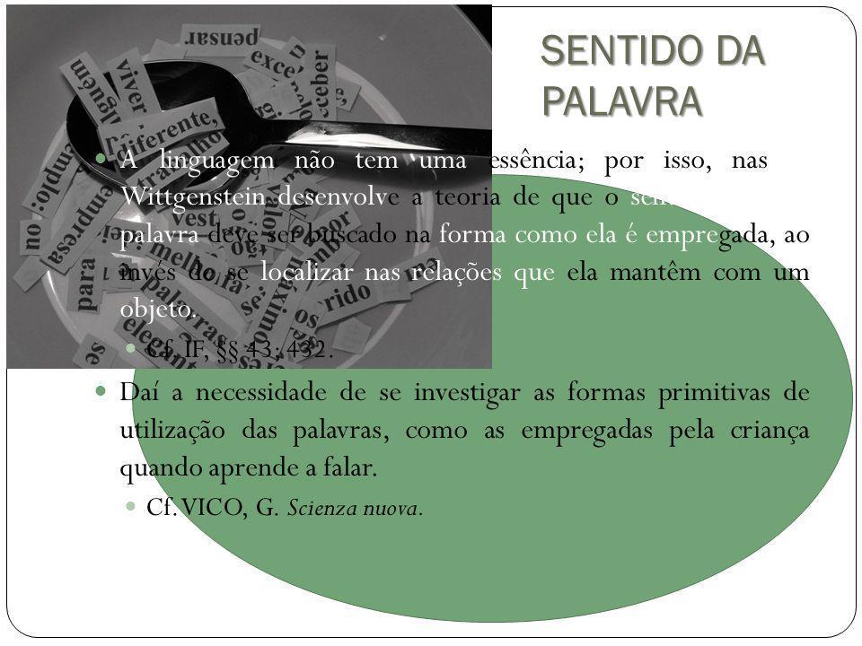 SENTIDO DA PALAVRA