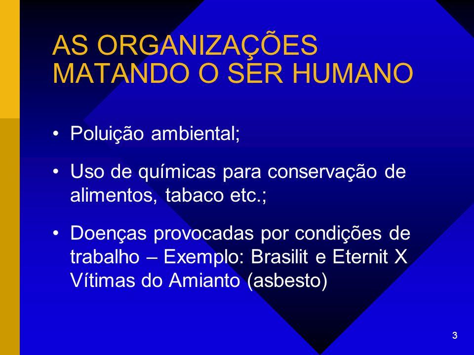 AS ORGANIZAÇÕES MATANDO O SER HUMANO