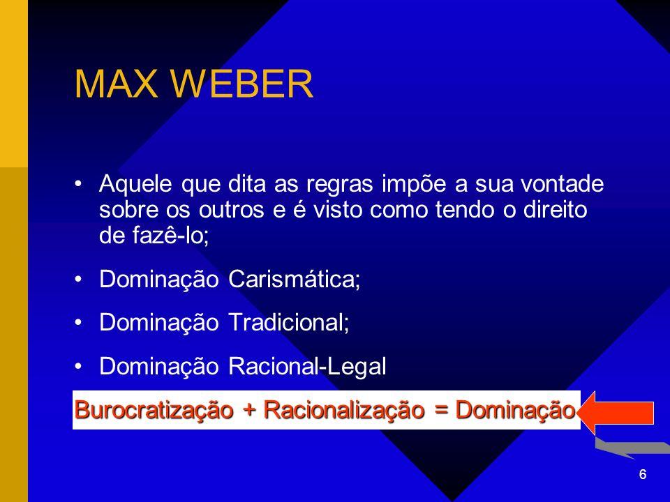 MAX WEBER Aquele que dita as regras impõe a sua vontade sobre os outros e é visto como tendo o direito de fazê-lo;