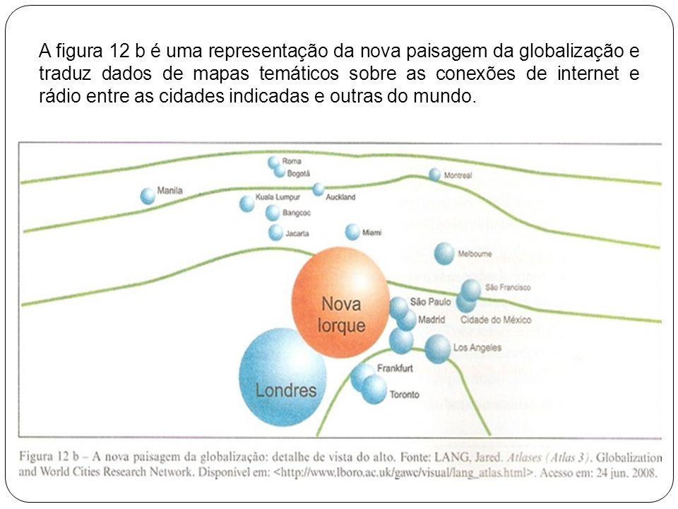 A figura 12 b é uma representação da nova paisagem da globalização e traduz dados de mapas temáticos sobre as conexões de internet e rádio entre as cidades indicadas e outras do mundo.