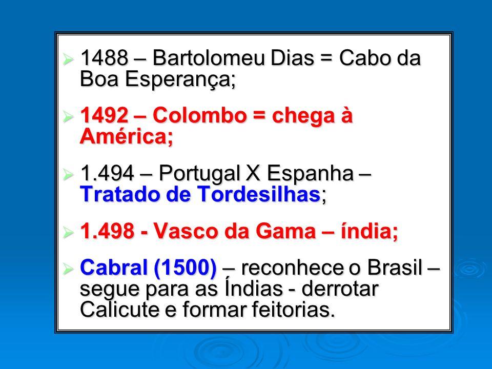 1488 – Bartolomeu Dias = Cabo da Boa Esperança;