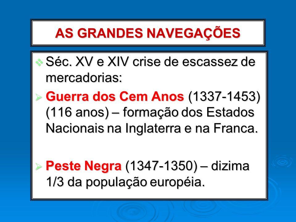 AS GRANDES NAVEGAÇÕES Séc. XV e XIV crise de escassez de mercadorias: