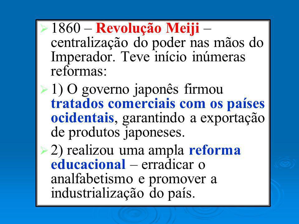 1860 – Revolução Meiji – centralização do poder nas mãos do Imperador