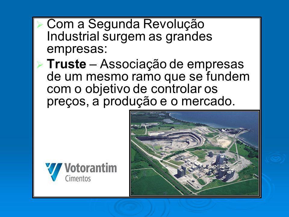 Com a Segunda Revolução Industrial surgem as grandes empresas:
