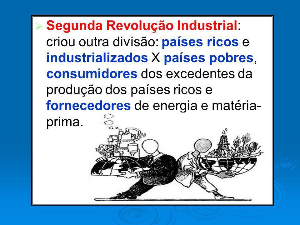 Segunda Revolução Industrial: criou outra divisão: países ricos e industrializados X países pobres, consumidores dos excedentes da produção dos países ricos e fornecedores de energia e matéria-prima.