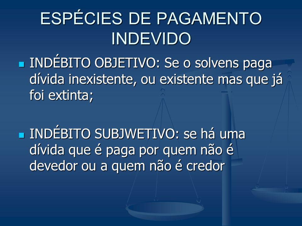 ESPÉCIES DE PAGAMENTO INDEVIDO