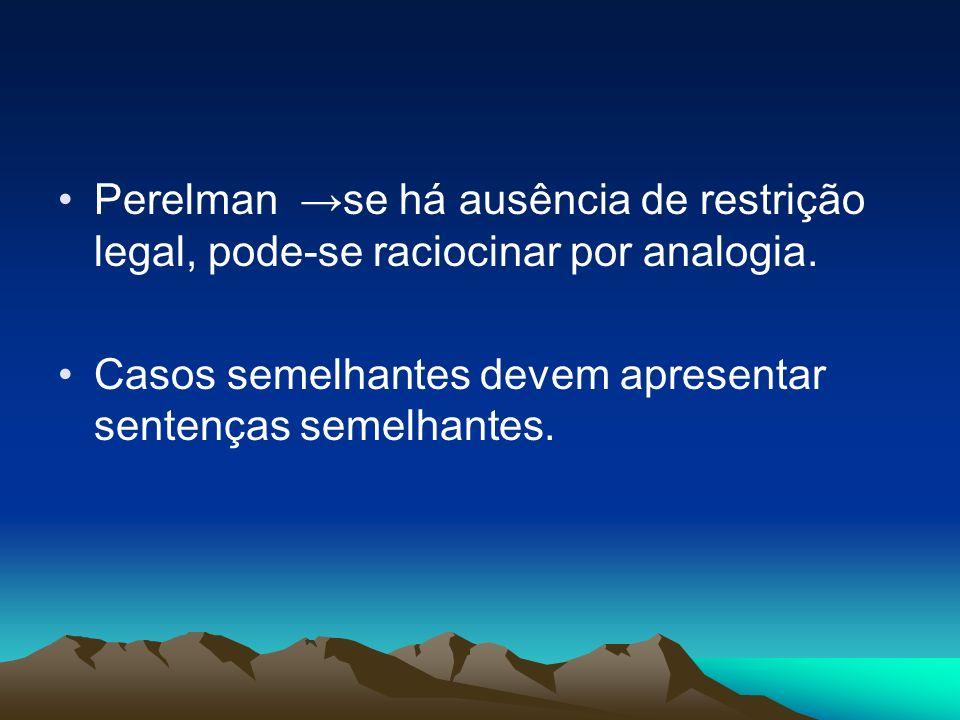 Perelman →se há ausência de restrição legal, pode-se raciocinar por analogia.