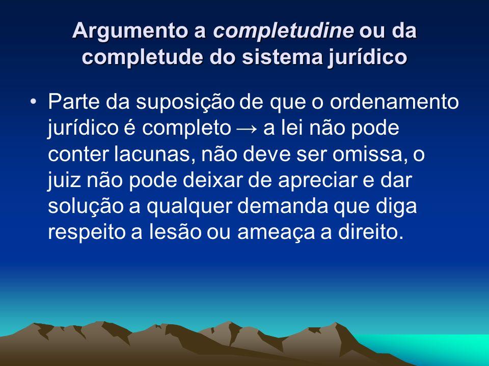 Argumento a completudine ou da completude do sistema jurídico