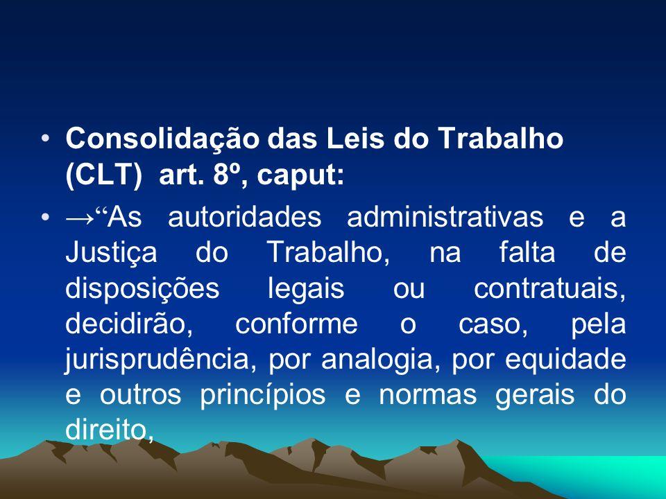 Consolidação das Leis do Trabalho (CLT) art. 8º, caput: