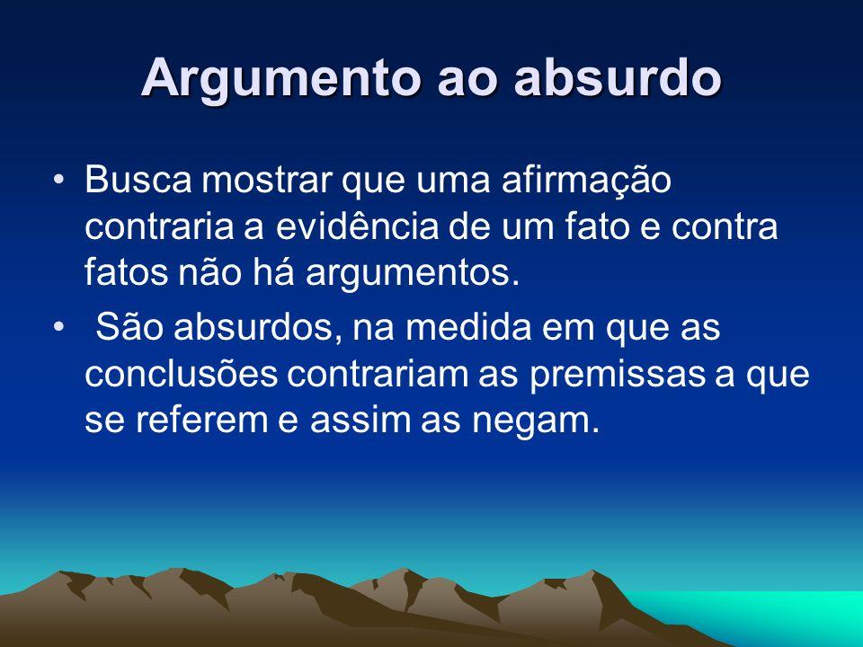 Argumento ao absurdo Busca mostrar que uma afirmação contraria a evidência de um fato e contra fatos não há argumentos.