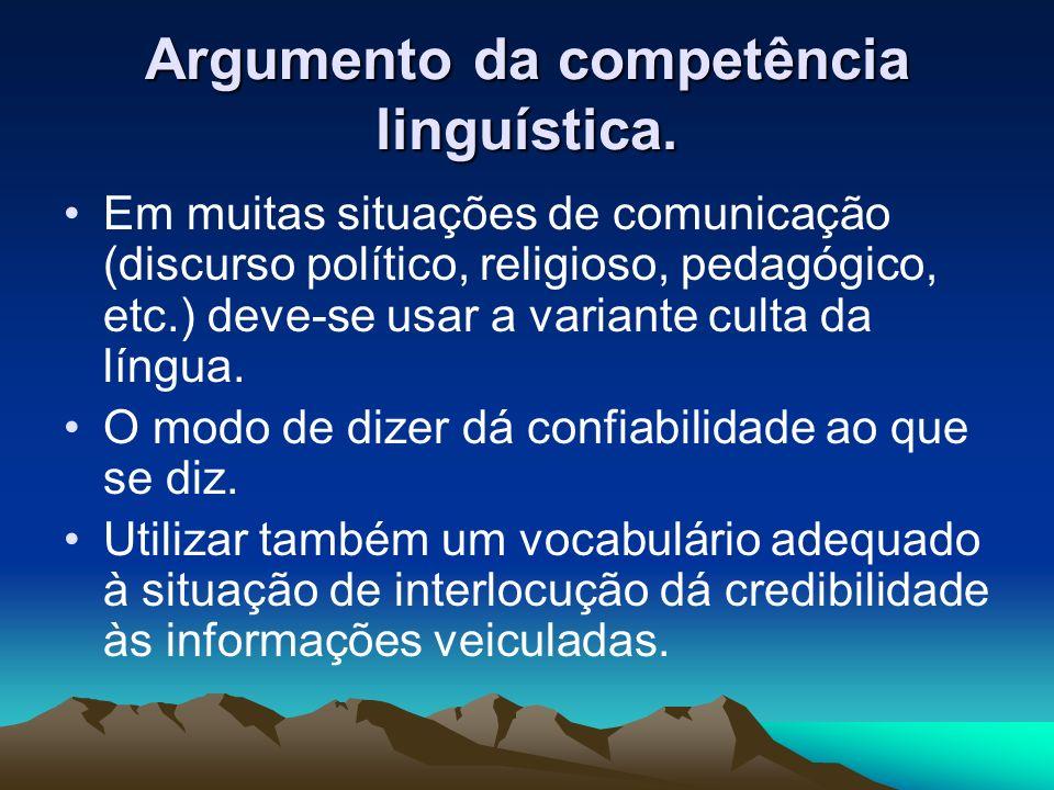 Argumento da competência linguística.