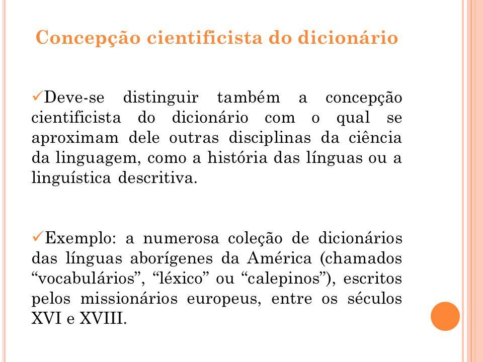 Concepção cientificista do dicionário