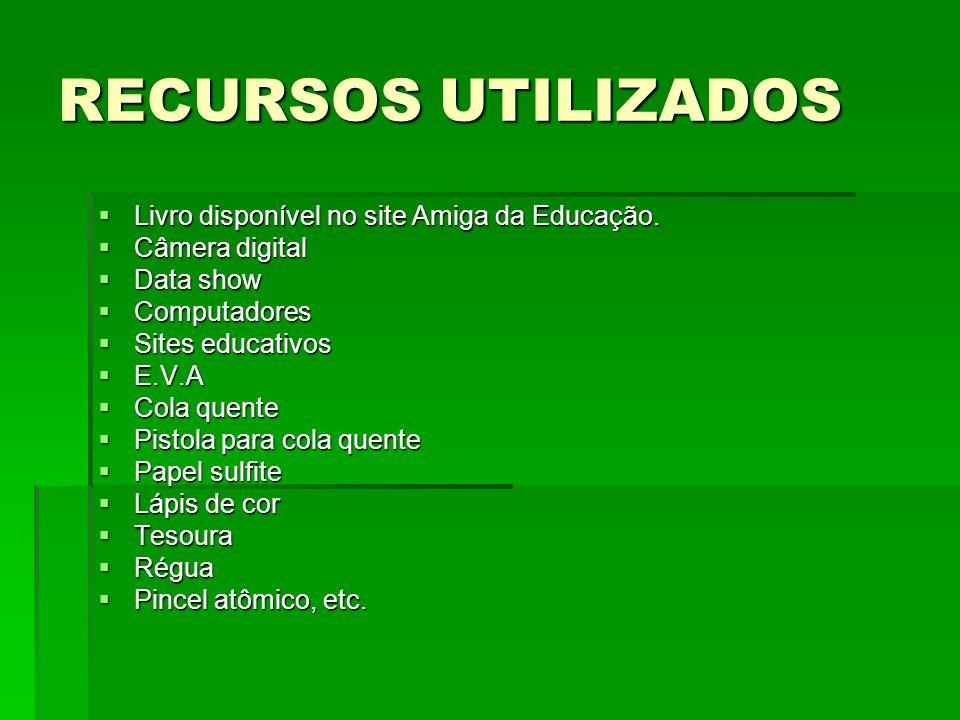 RECURSOS UTILIZADOS Livro disponível no site Amiga da Educação.