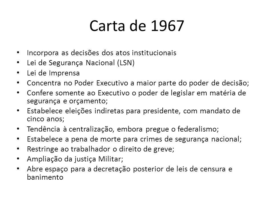 Carta de 1967 Incorpora as decisões dos atos institucionais