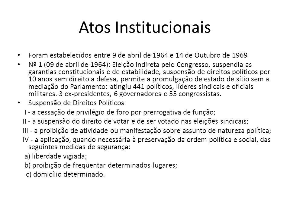 Atos Institucionais Foram estabelecidos entre 9 de abril de 1964 e 14 de Outubro de 1969.