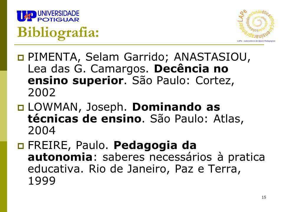 Bibliografia: PIMENTA, Selam Garrido; ANASTASIOU, Lea das G. Camargos. Decência no ensino superior. São Paulo: Cortez, 2002.