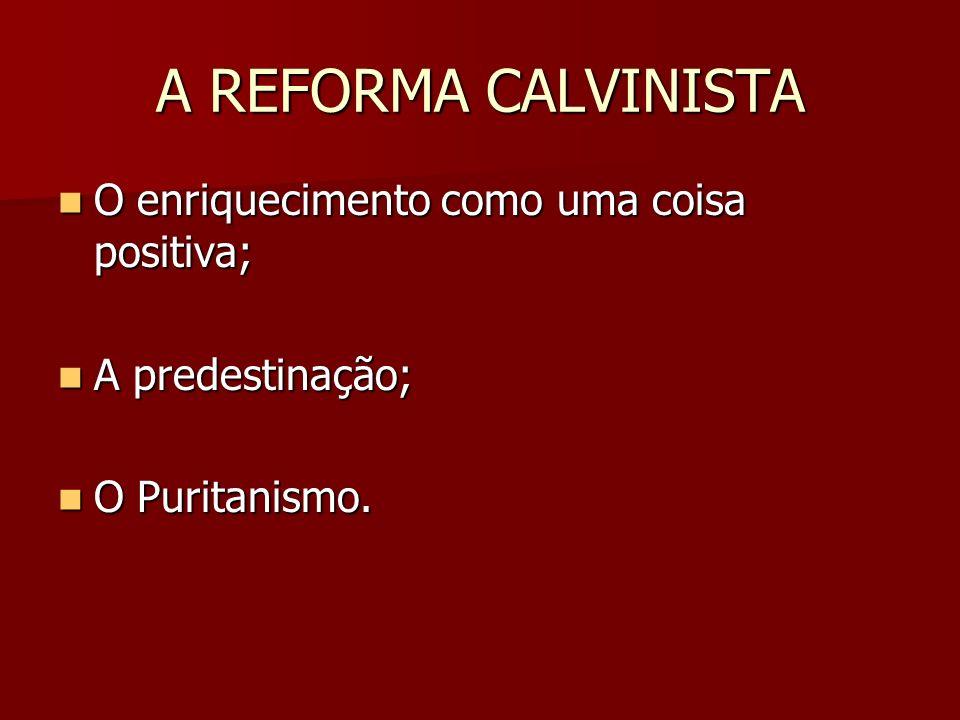 A REFORMA CALVINISTA O enriquecimento como uma coisa positiva;