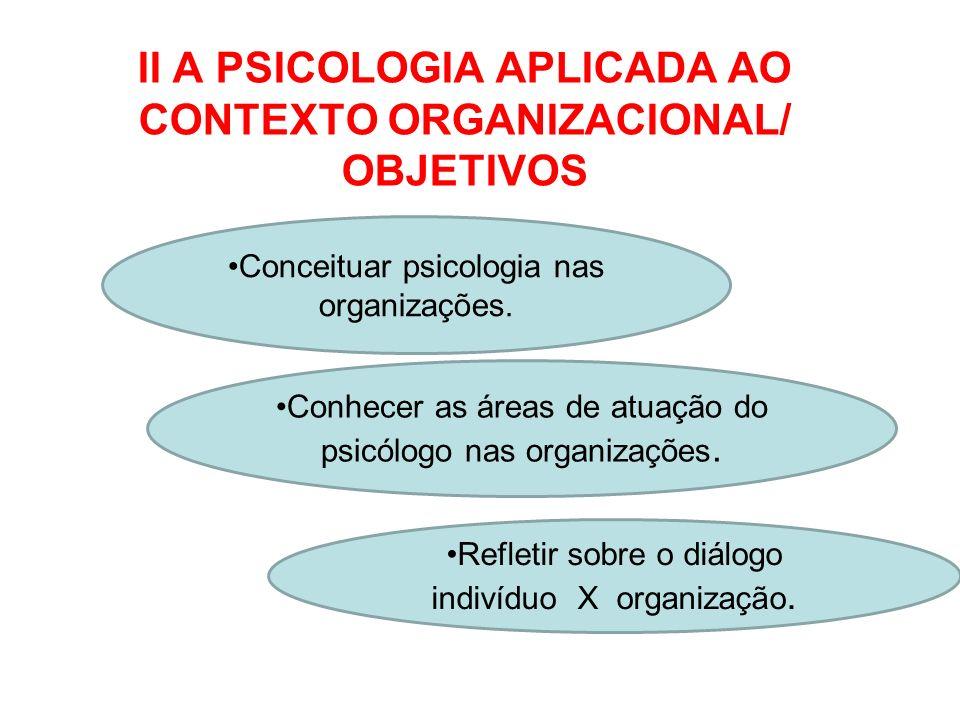 II A PSICOLOGIA APLICADA AO CONTEXTO ORGANIZACIONAL/ OBJETIVOS