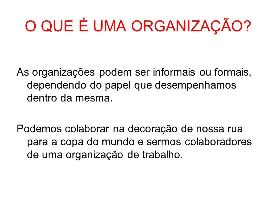 O QUE É UMA ORGANIZAÇÃO As organizações podem ser informais ou formais, dependendo do papel que desempenhamos dentro da mesma.