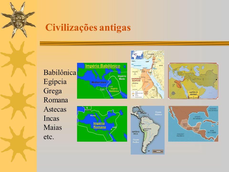 Civilizações antigas Babilônica Egípcia Grega Romana Astecas Incas