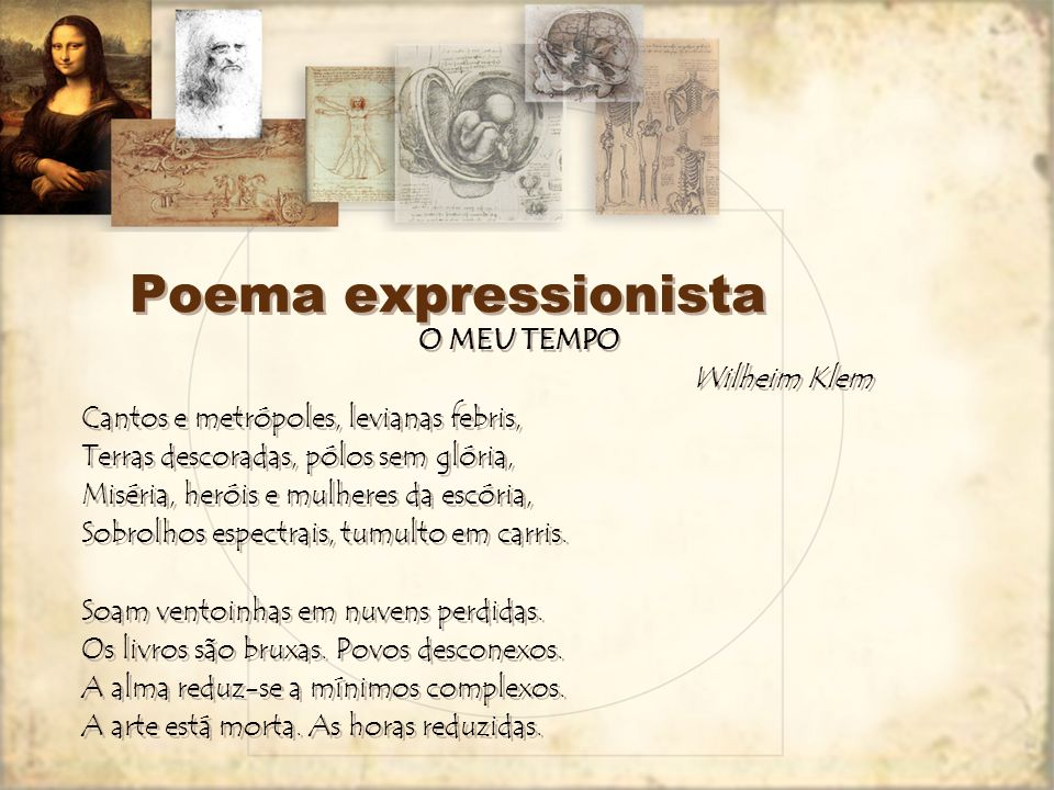 Poema expressionista O MEU TEMPO Wilheim Klem