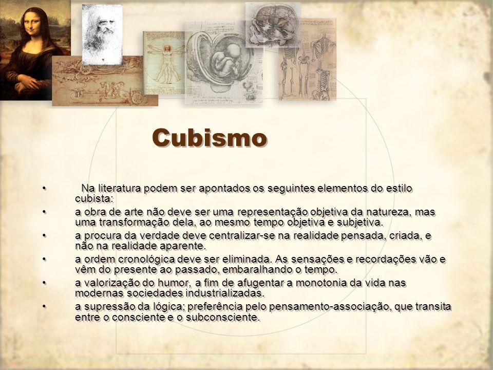 Cubismo Na literatura podem ser apontados os seguintes elementos do estilo cubista: