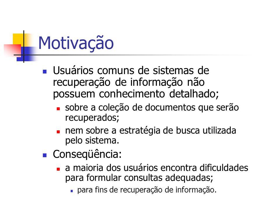Motivação Usuários comuns de sistemas de recuperação de informação não possuem conhecimento detalhado;
