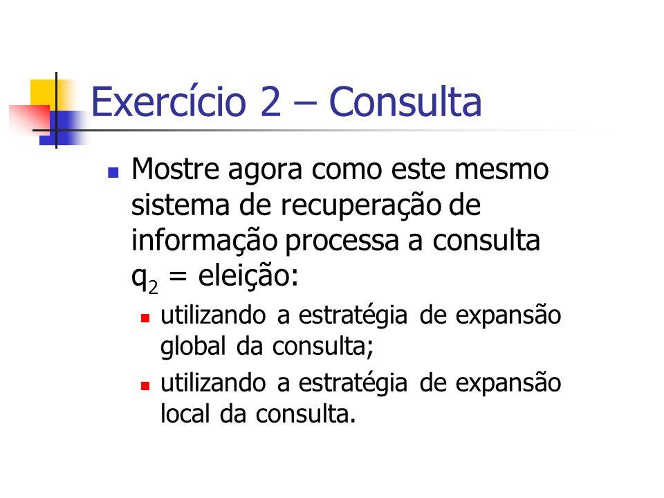 Exercício 2 – Consulta Mostre agora como este mesmo sistema de recuperação de informação processa a consulta q2 = eleição: