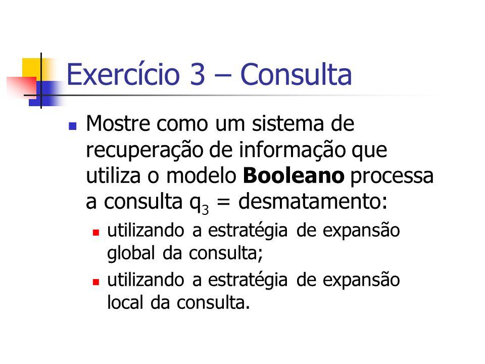 Exercício 3 – Consulta Mostre como um sistema de recuperação de informação que utiliza o modelo Booleano processa a consulta q3 = desmatamento: