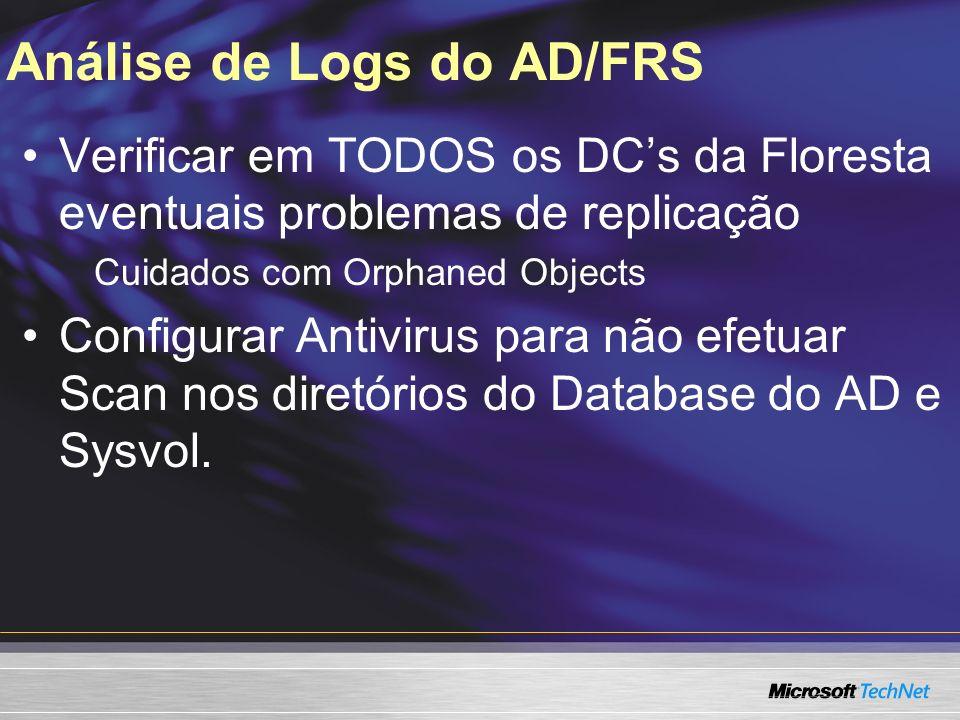 Análise de Logs do AD/FRS