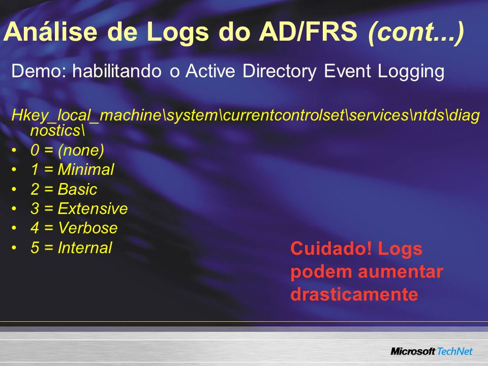 Análise de Logs do AD/FRS (cont...)