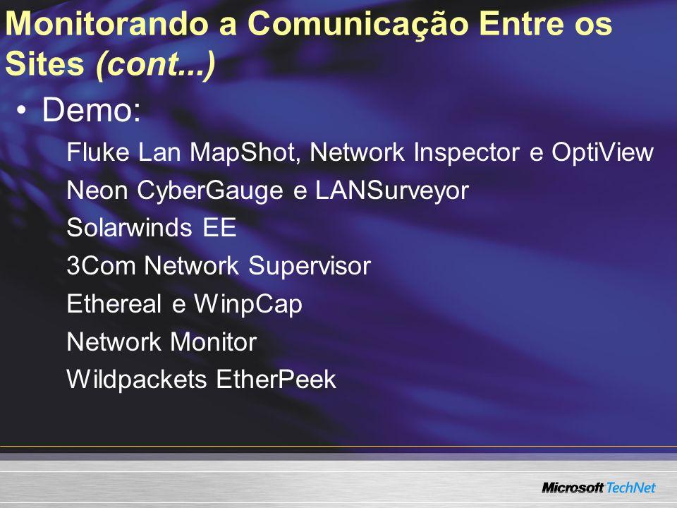 Monitorando a Comunicação Entre os Sites (cont...)
