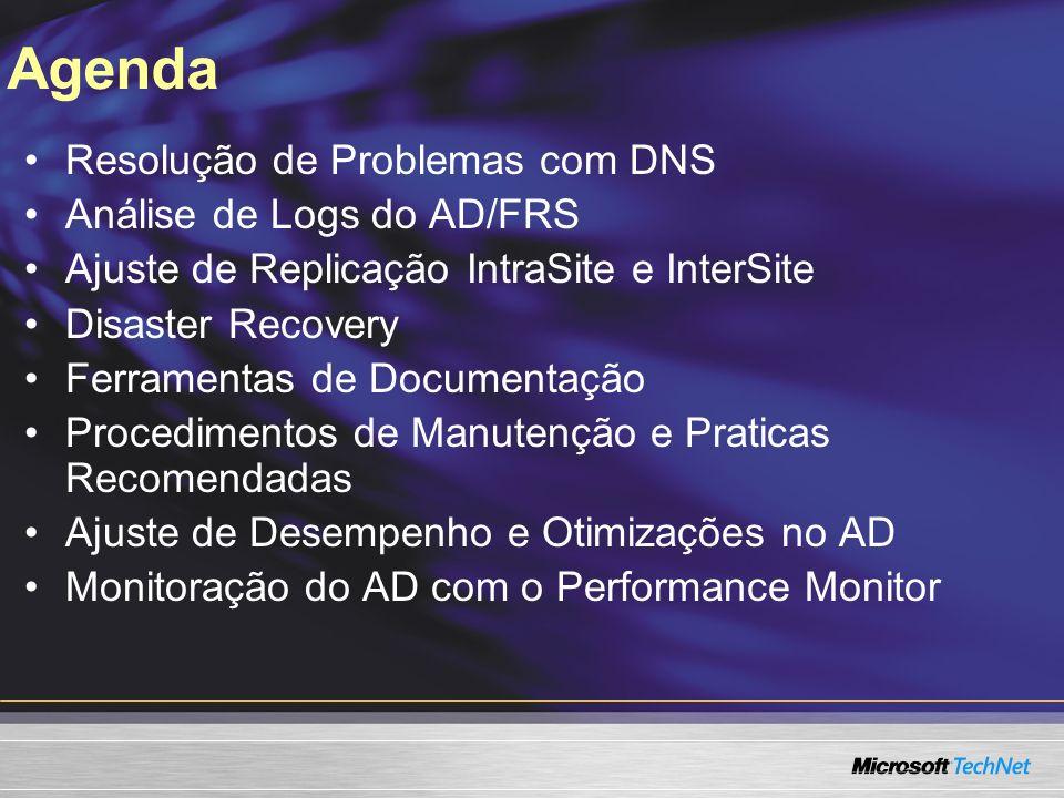 Agenda Resolução de Problemas com DNS Análise de Logs do AD/FRS