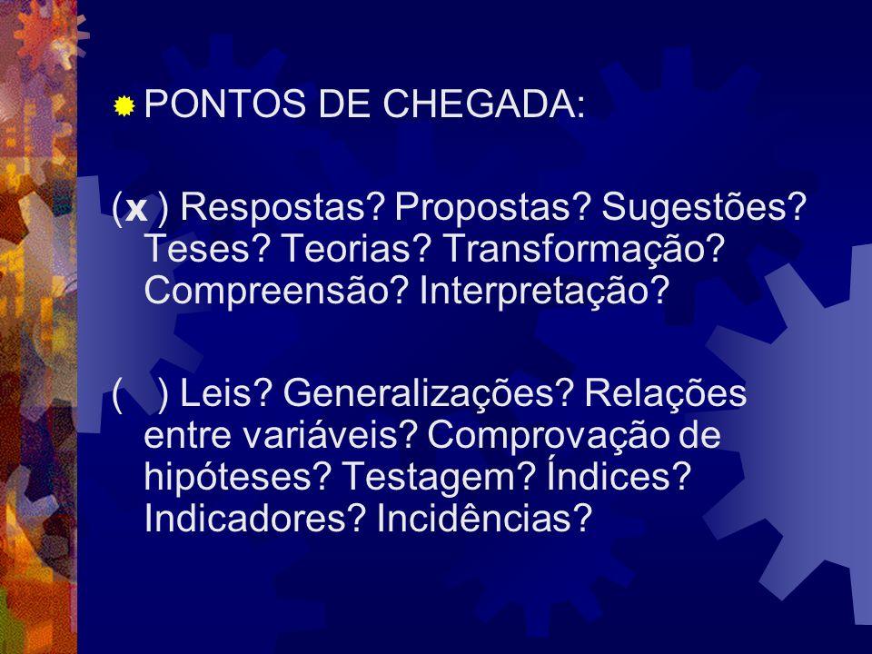 PONTOS DE CHEGADA: ( ) Respostas Propostas Sugestões Teses Teorias Transformação Compreensão Interpretação
