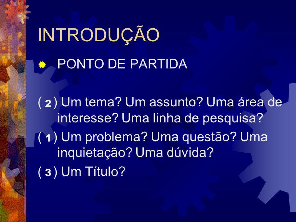 INTRODUÇÃO PONTO DE PARTIDA